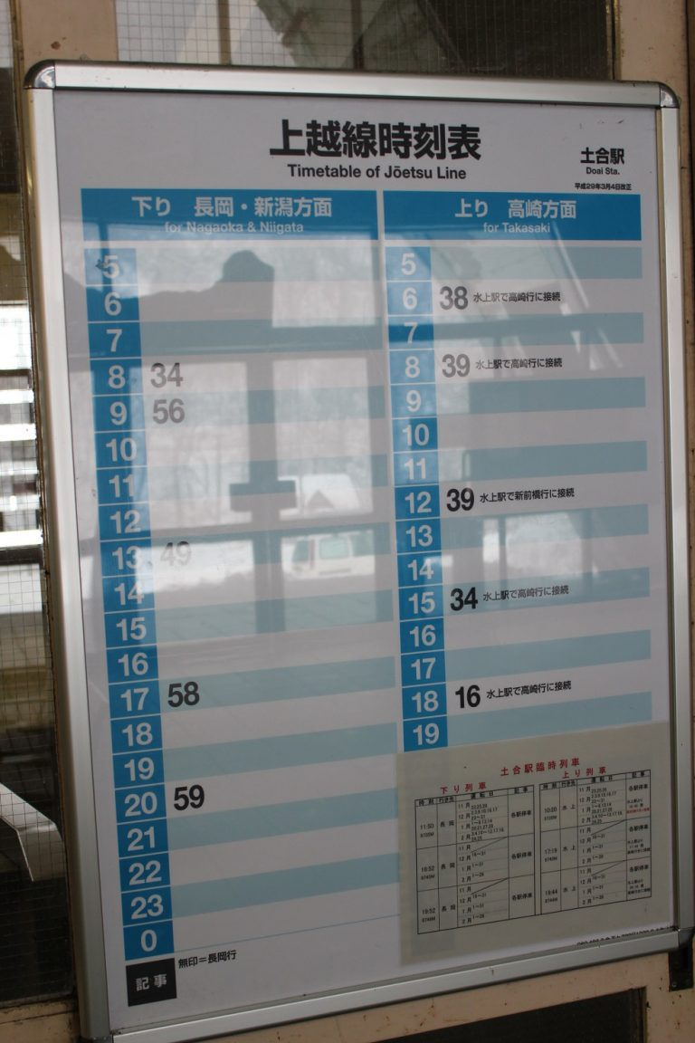 土合駅時刻表